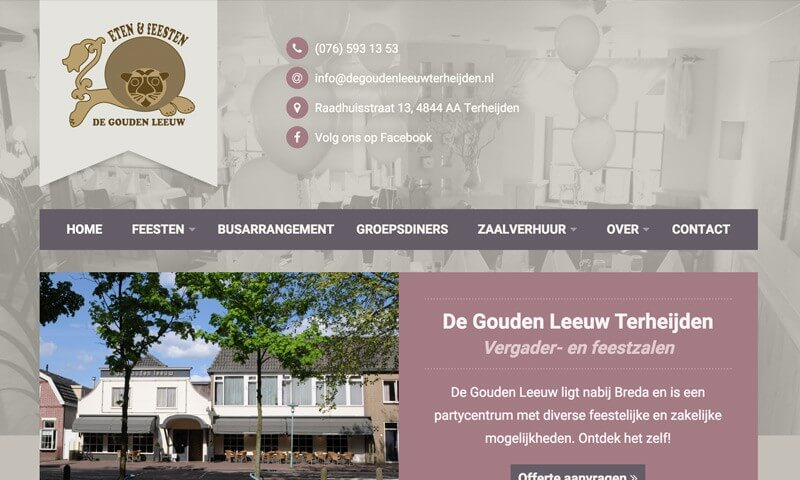 De Gouden Leeuw Terheijden website