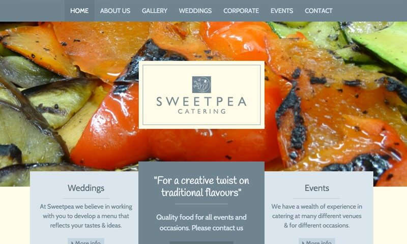 Sweetpea Catering website