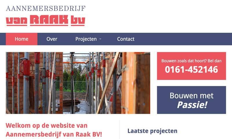 Website Aannemersbedrijf van Raak