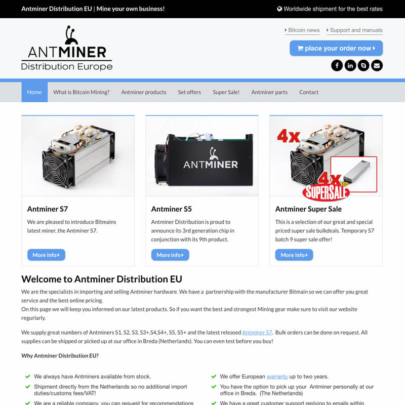 Website project Antminer Distribution
