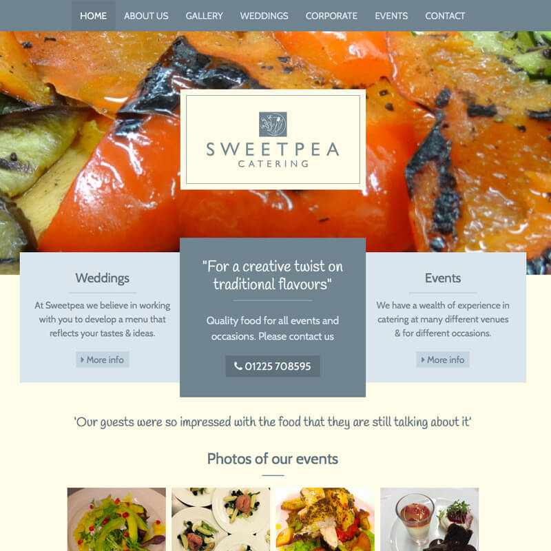 Website project Sweetpea Catering