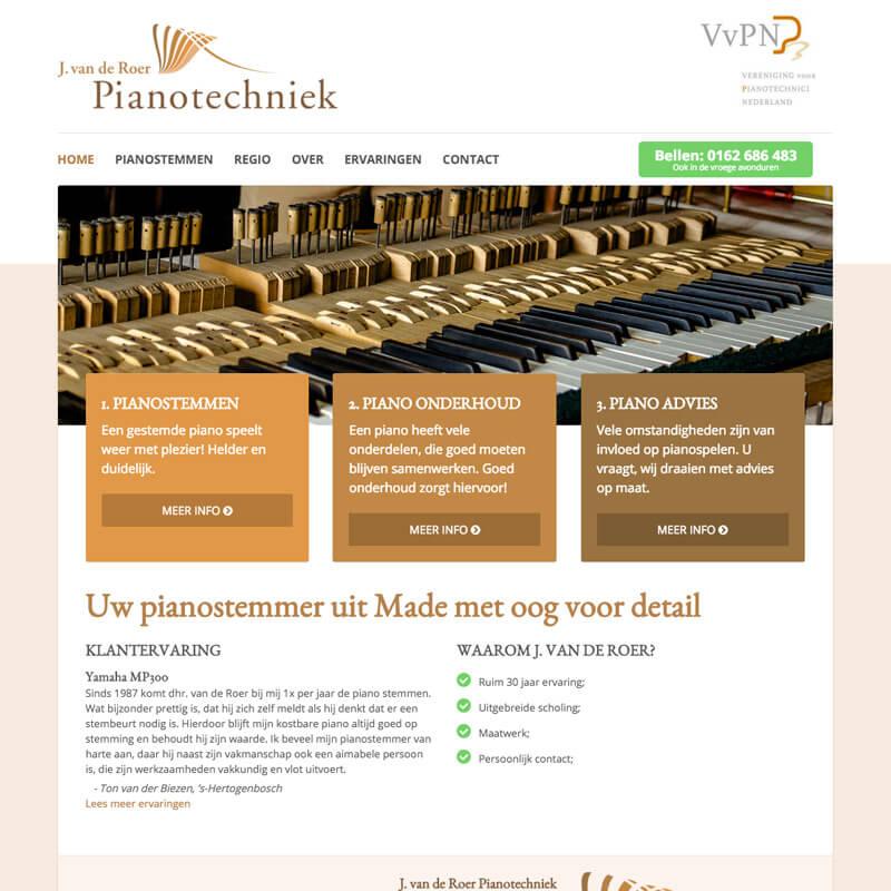 Website project Pianotechniek J. van de Roer