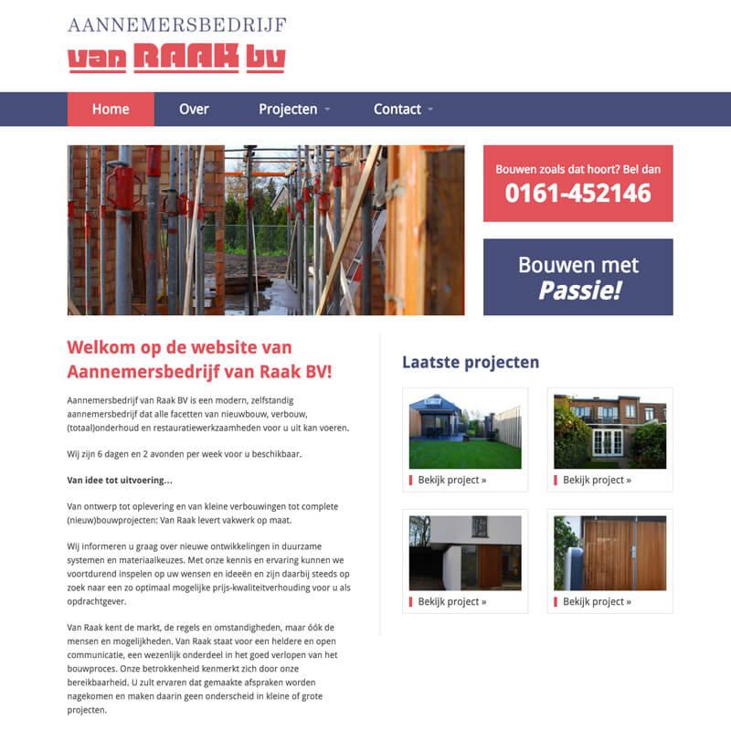 Website project Aannemersbedrijf van Raak